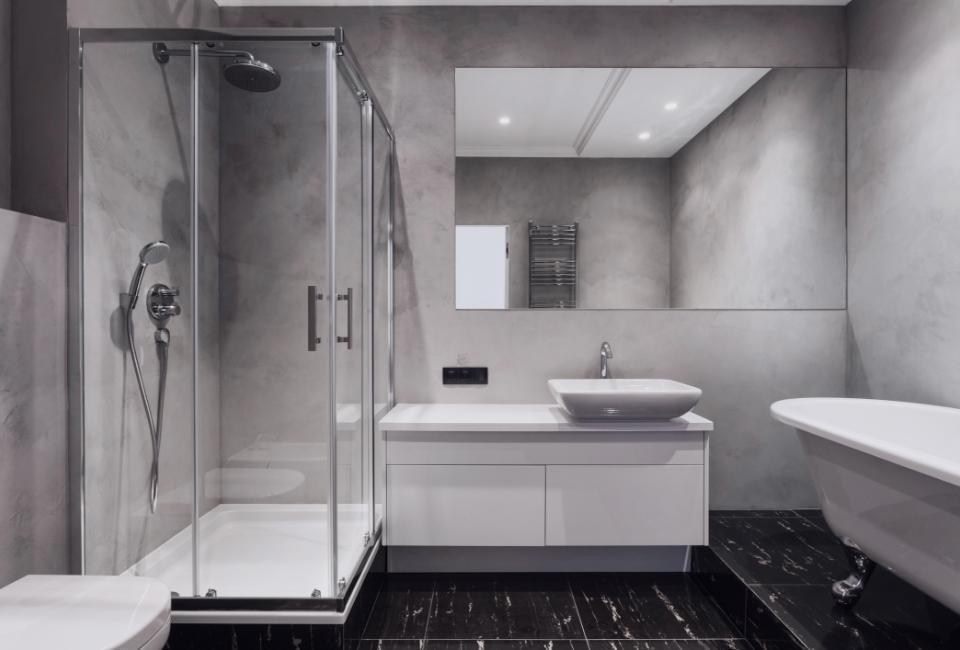 nowoczesna szara łazienka zprysznicem